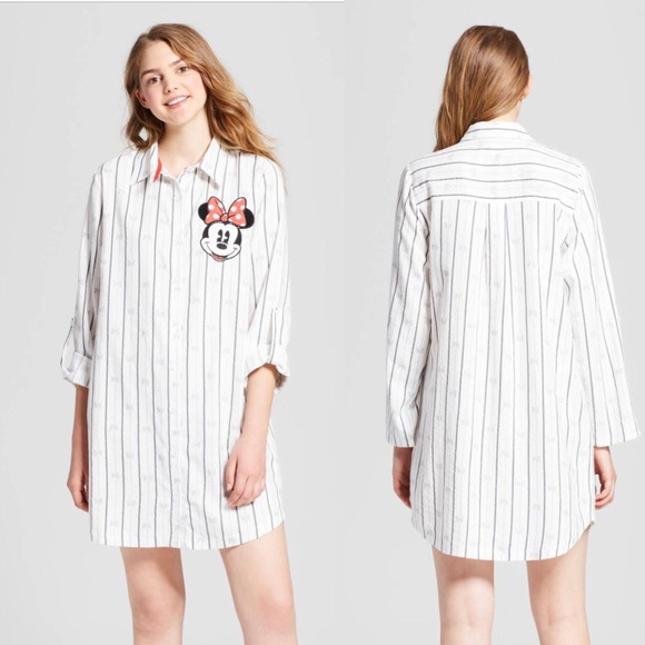 Disney Intimates & Sleepwear | Womens Minnie Mouse Pinstripe ...
